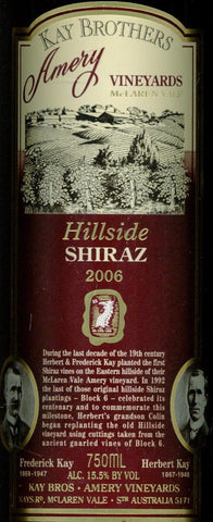 Kay Brothers Hillside Shiraz 2006 750ml, McLaren Vale