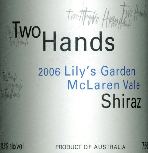 Two Hands Lily's Garden Shiraz 2006 750ml, McLaren Vale