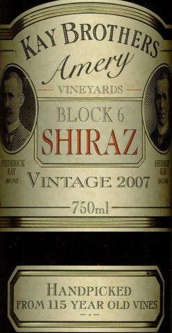 Kay Brothers Block 6 Shiraz 2007 750ml, McLaren Vale