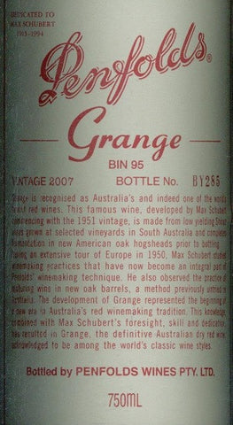 Penfolds Grange Shiraz 2007 750ml, South Australia