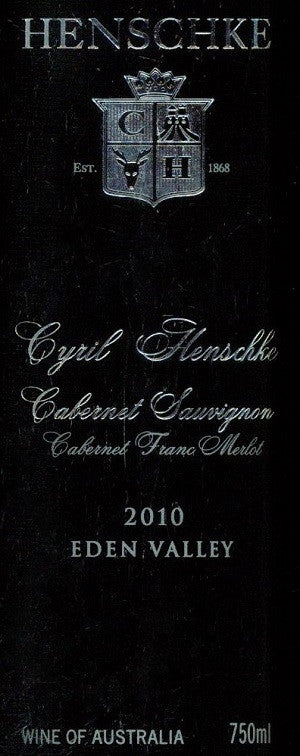 Henschke Cyril Cabernet Sauvignon 2010 750ml, Eden Valley
