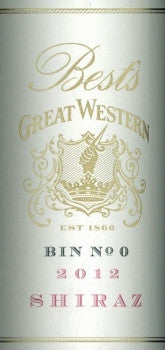 Best's  Great Western Bin 0 Shiraz 2012 750ml, Grampians