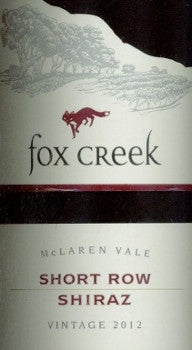 Fox Creek Short Row Shiraz 2012 750ml, McLaren Vale