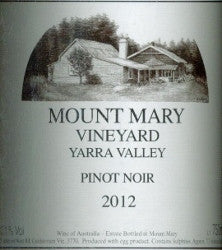 Mount Mary Pinot Noir 2012 750ml, Yarra Valley