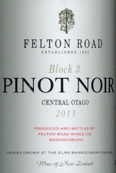 Felton Road Block 3 Pinot Noir 2013 750ml, Cental Otago