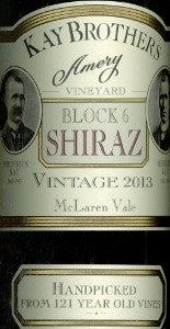 Kay Brothers Block 6 Shiraz 2013 750ml, McLaren Vale