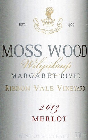 Moss Wood Ribbon Vale Merlot 2013 750ml, Margaret River