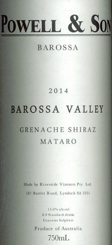 Powell & Sons Estate Grenache Shiraz Mataro 2014 750ml, Barossa Valley