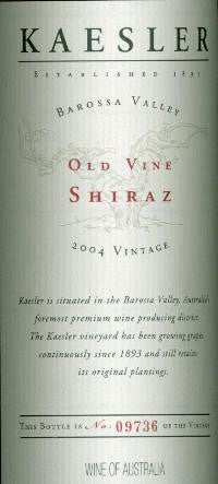 Kaesler Old Vine Shiraz 2004 3L, Barossa Valley
