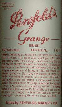 Penfolds Grange Shiraz 2005 1.5L, South Australia