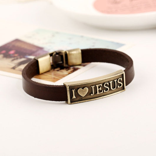 New Arrival leather hand chain buckle friendship men women bracelet anchor I LOVE JESUS charm unique jewelry toggle-clasps