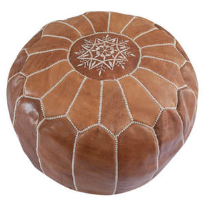 Tan Moroccan Leather Pouffe