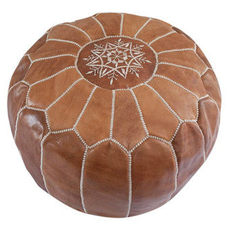 Caramel Moroccan Leather Pouffe