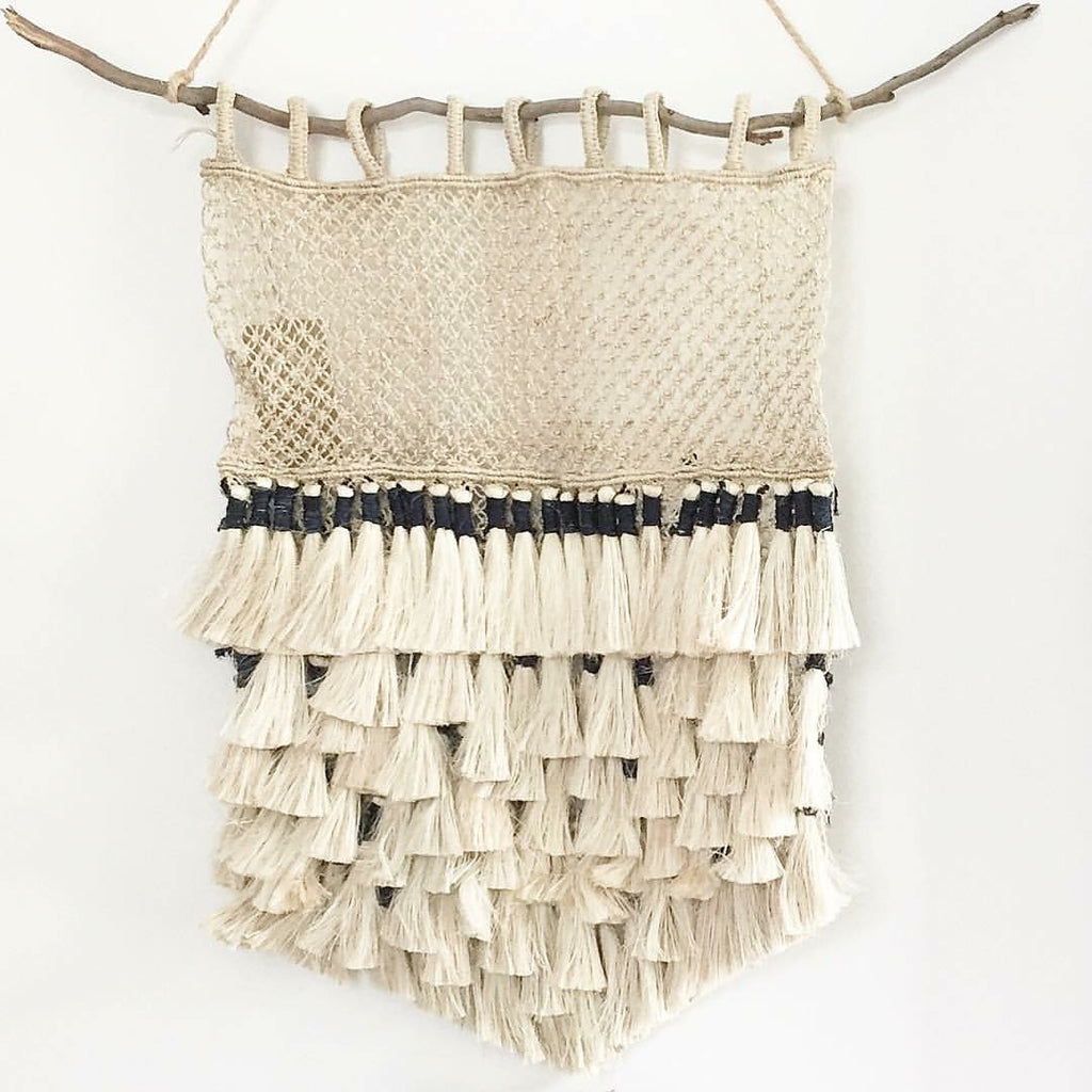 Jute Macrame Wall Hanging Natural and Indigo Tassels