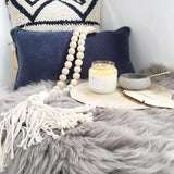 Velvet Breakfast Cushion - Denim