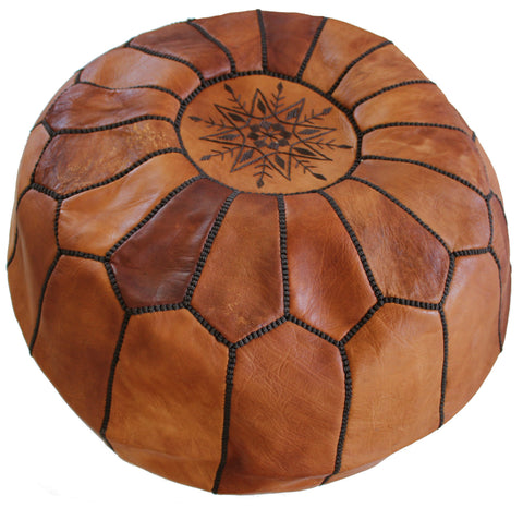 Caramel Moroccan Leather Pouf