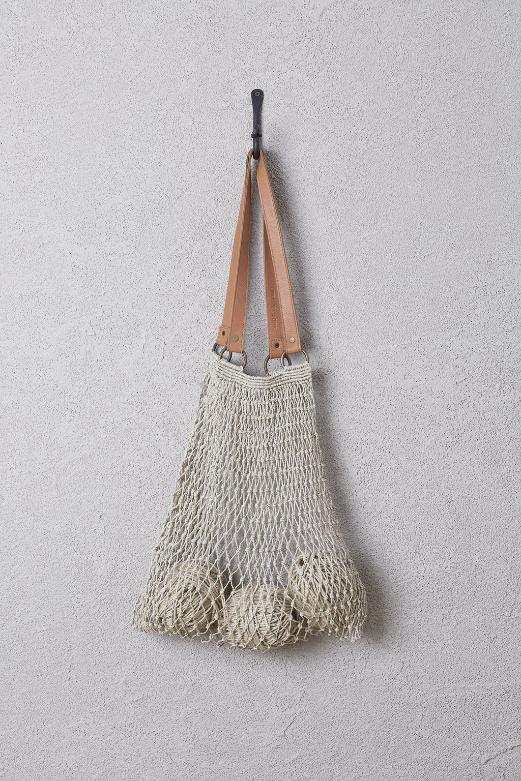 Jute String Bag with Brown Leather Handles
