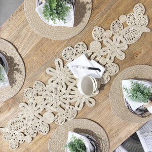 Leaf and Flower Table Runner - Natural