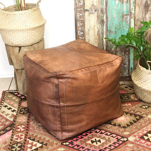 Moroccan Leather Pouffe - Square