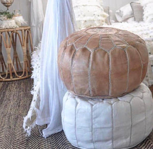Nude Moroccan Leather Pouffe