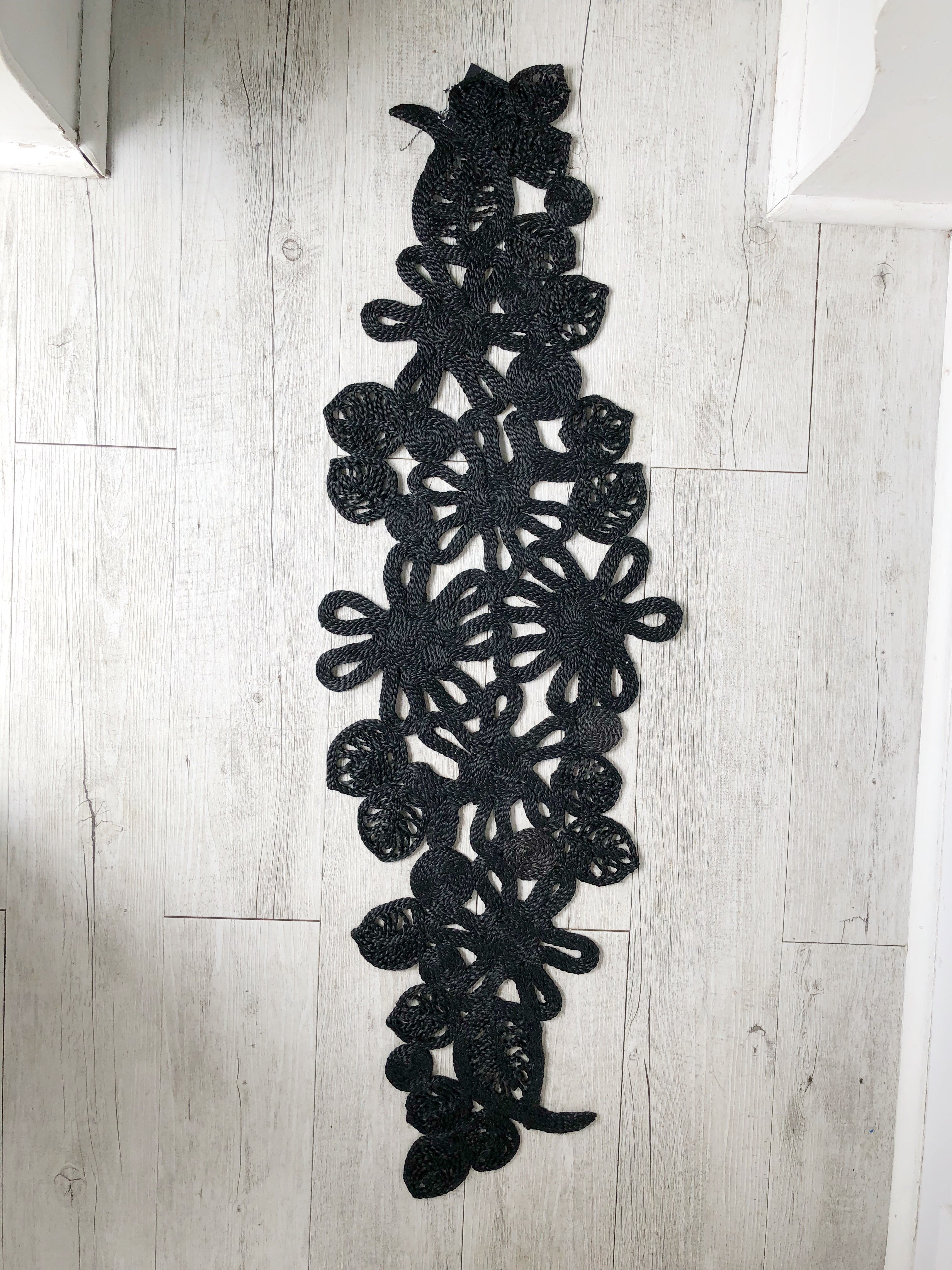 Leaf and Flower Table Runner - Black