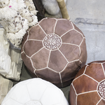 Tall Nut Brown Moroccan Leather Pouffe