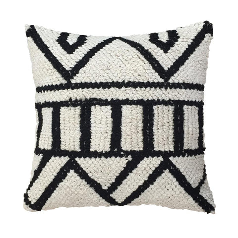 Black and Whit Hand Knotted Cushion