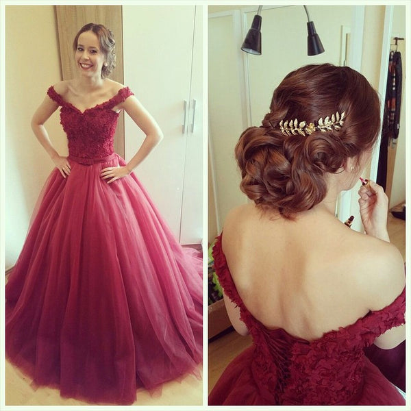 Burgundy Off Shoulder Lace Bodice Celebrity Prom Gowns pst0173