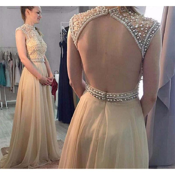 champagne prom dresses, beaded party gowns, gradutation party dresses with keyhole back