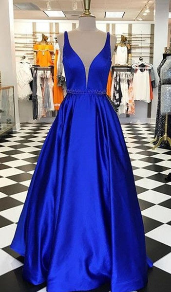 Deep V Neck Royal Blue Satin Prom Dresses Formal Dresses Wedding Party Gowns