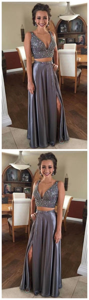Two Pieces Silver Grey Prom Dress Long, Prom Dresses, Graduation Party Dresses, Pageant Dresses, Formal Dresses