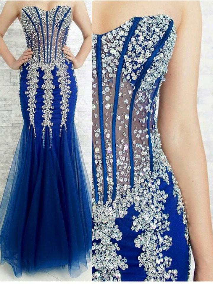 Royal Blue Beaded Tulle Prom Dresses Formal Dresses Wedding Party Gowns