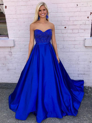Royal Blue Sweetheart Neckline Satin Prom Dresses Wedding Party Dresses