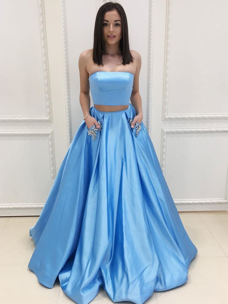 Blue Two Piece Prom Dresses Formal Dresses Wedding Party Gowns