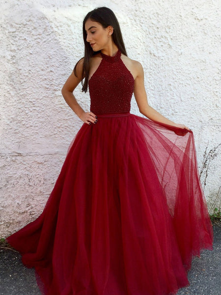 Halter Beaded Tulle Prom Dresses Wedding Party Dresses Formal Dresses