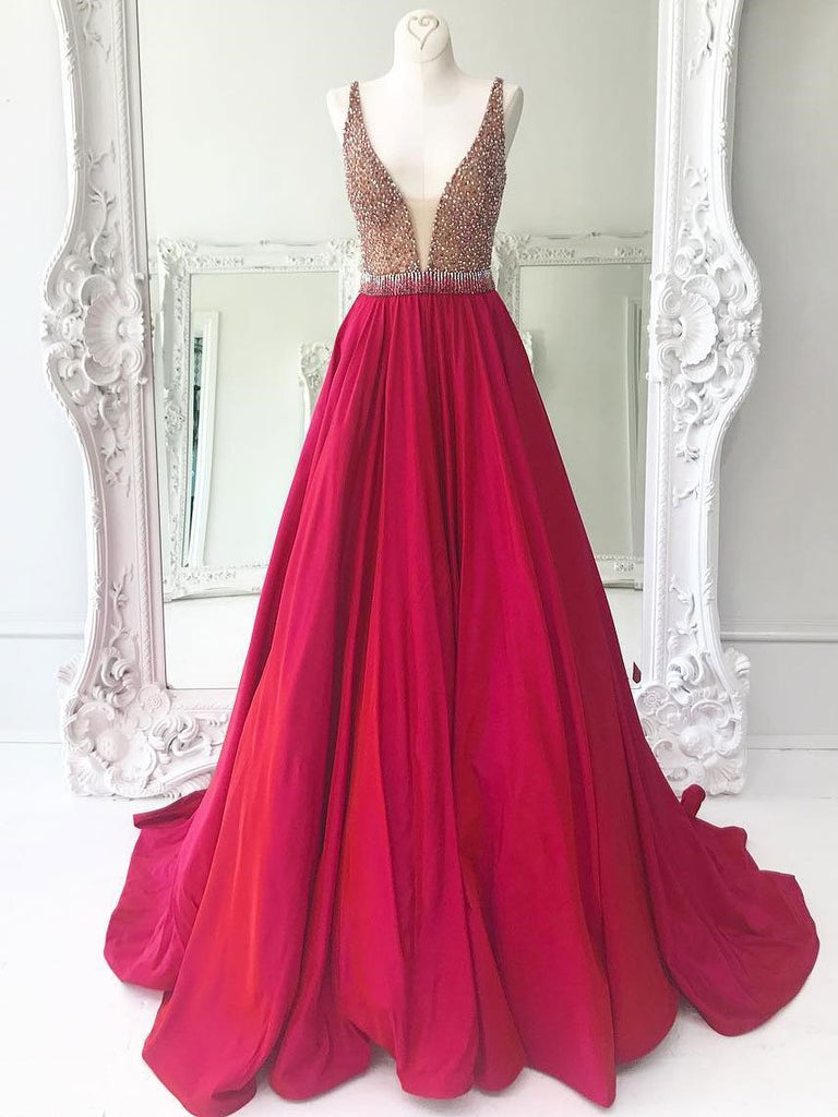 Deep V Neckline Prom Dresses Wedding Party Dresses Formal Dresses