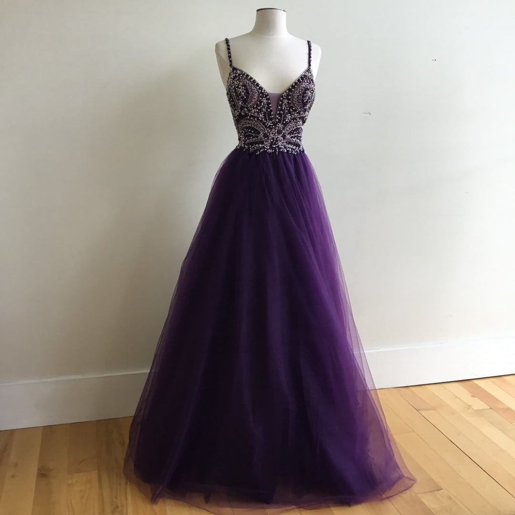 Purple Prom Dress Long, Prom Dresses Wedding Party Dresses Spaghetti Straps