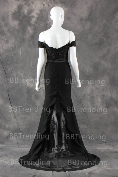Black Lace Prom Dresses Floor Length pst0337