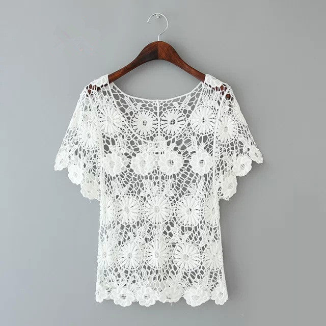White Crochet T-Shirt Top bb0130