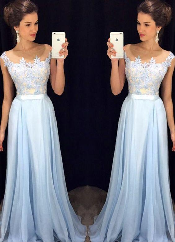 Light Blue Prom Dresses Long ,Wedding Party Dresses, Formal Dresses, Back to School Dress