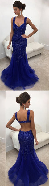 Royal Blue Prom Dress Open Back, Wedding Party Dresses, Formal Dresses, Back to School Dress
