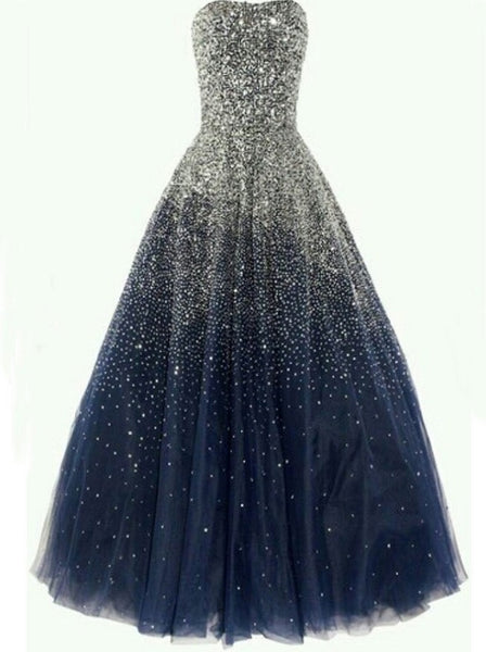 Sparkling Navy Prom Dress, Prom Dresses For Teens, Graduation Party Dresses, Formal Dresses