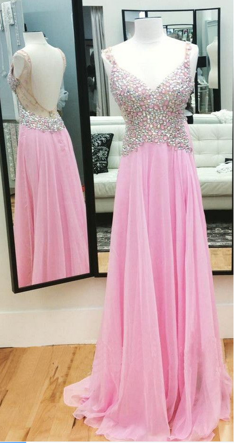 Light Pink Prom Dress Open Back, Wedding Party Dresses, Formal ...