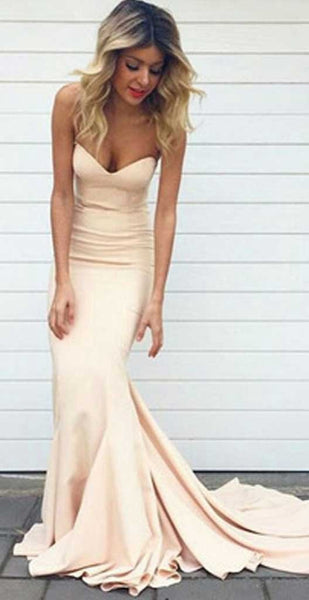 Champagne Mermaid Prom Dresses Long ,Wedding Party Dresses, Formal Dresses, Back to School Dress