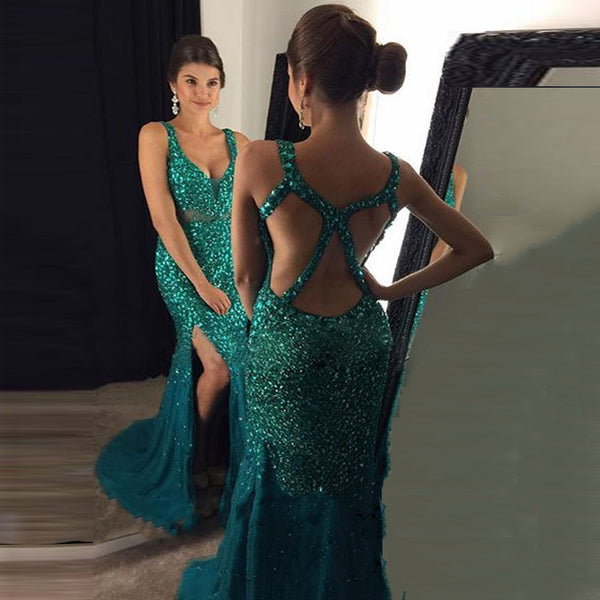 Sexy Green Prom Dress Long, Prom Dresses Wedding Party Dresses with Slit
