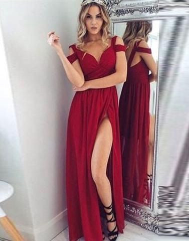 Sexy Prom Dress with High Slit, Prom Dresses Wedding Party Dresses