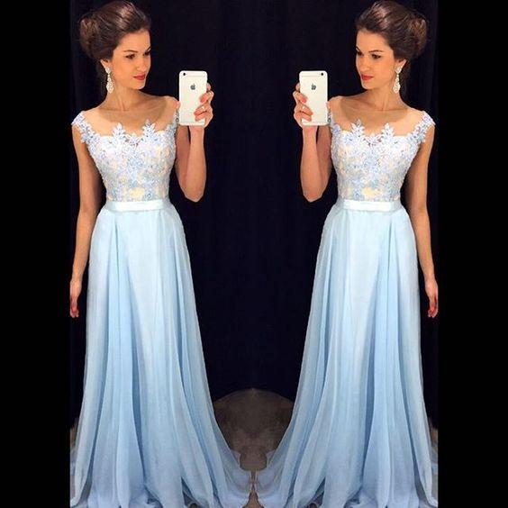 Light Blue Long Prom Dress For Teens