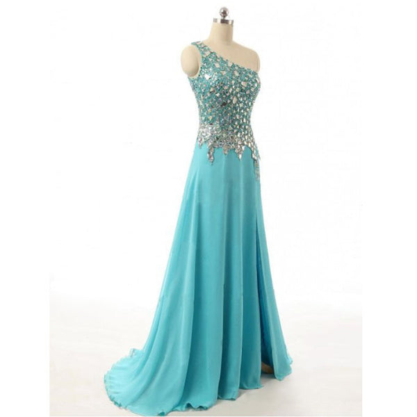 One Shoulder Chiffon Prom Dresses Graduatino Party Dresses pst0432