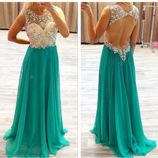 Backless Long Prom Dress Evening Gown pst0449
