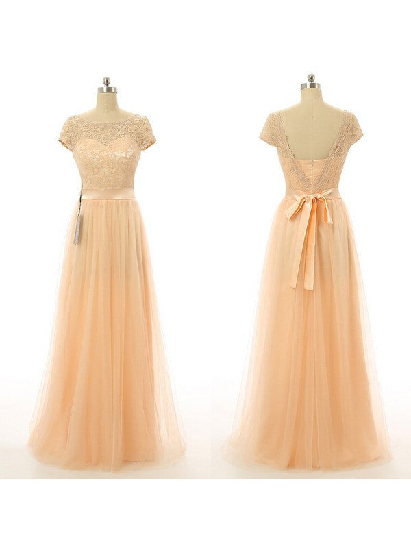 Long Prom Dress with Short Sleeves pst0454